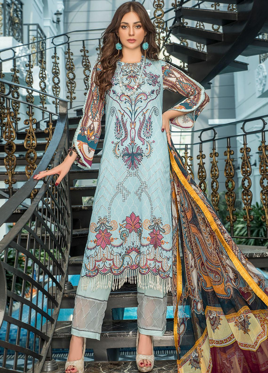 Maryam's Embroidered Lawn Suits Unstitched 3 Piece MRM21FL ML-106 - Summer Collection