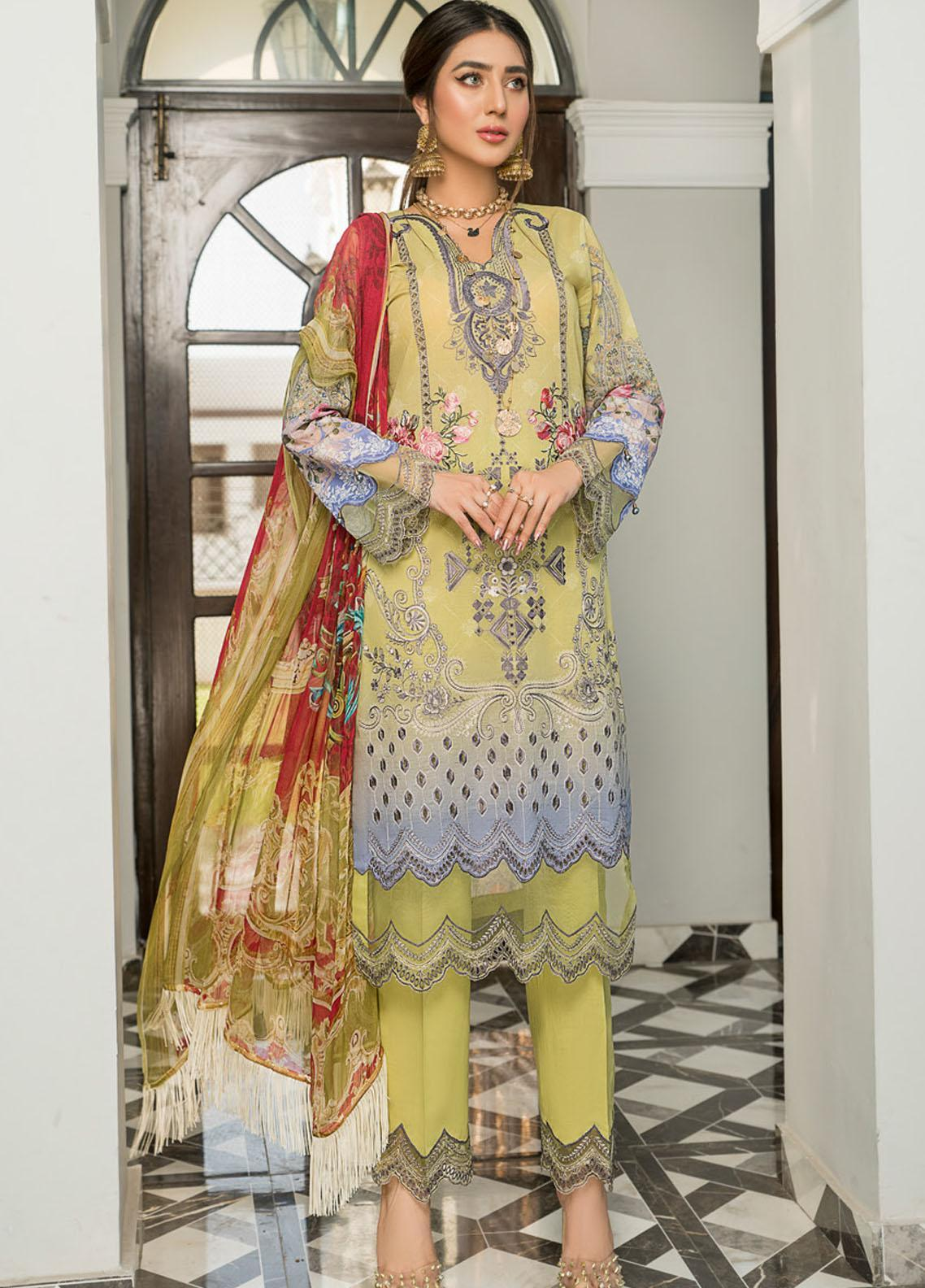 Maryam's Embroidered Lawn Suits Unstitched 3 Piece MRM21FL ML-108 - Summer Collection