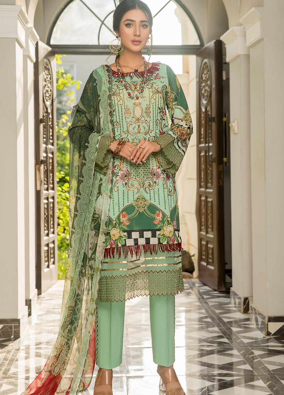 Maryam's Embroidered Lawn Suits Unstitched 3 Piece MRM21FL ML-110 - Summer Collection