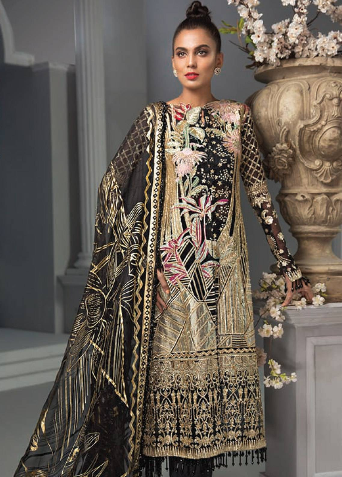 Maryam Hussain Embroidered Chiffon Unstitched 3 Piece Suit MRH19C 04 FIRDAUS - Luxury Collection