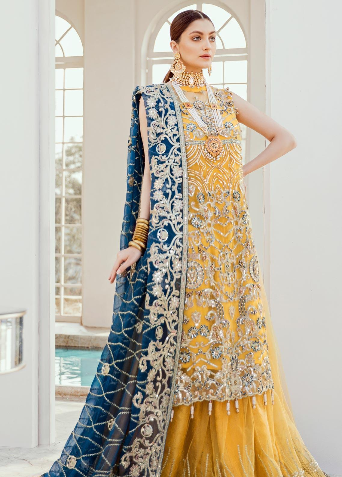Maryum N Maria Embroidered Net Unstitched 3 Piece Suit MNM20B 03 Exotic Deep - Bridal Collection