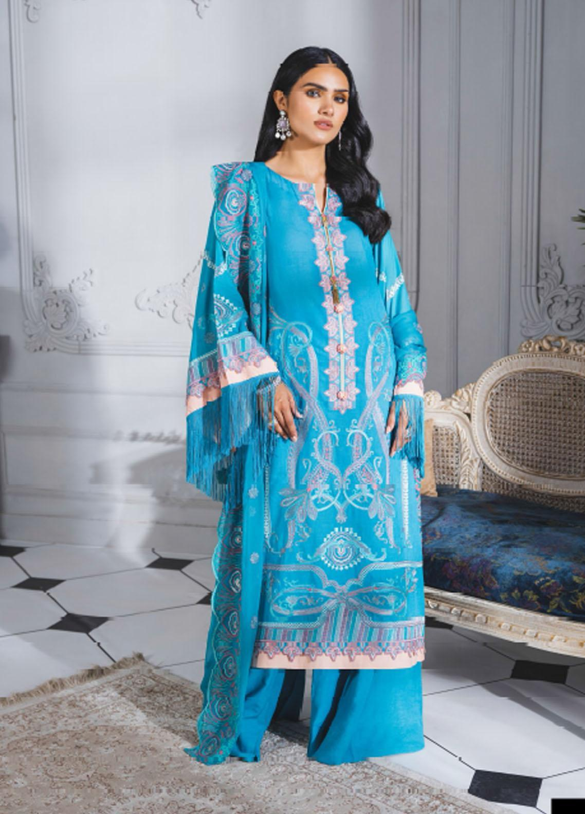 Maryum N Maria Embroidered Lawn Suits Unstitched 3 Piece MNM21F 203 Mild Flowers - Festive Collection