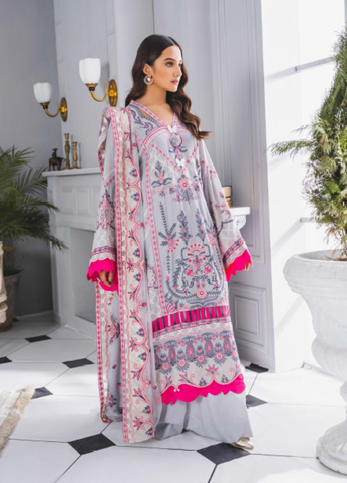 Maryum N Maria Embroidered Lawn Suits Unstitched 3 Piece MNM21F 204 Morning Light - Festive Collection