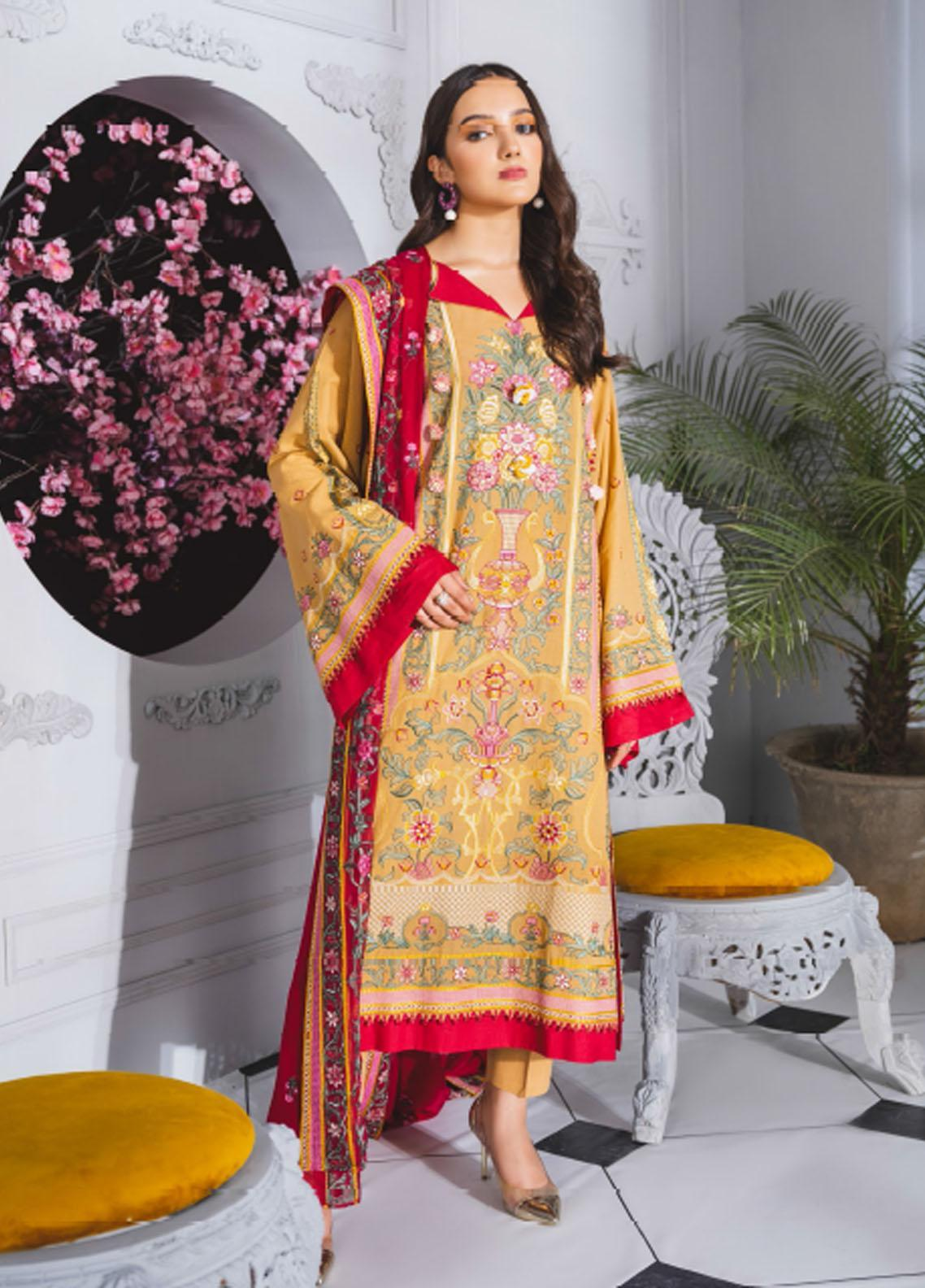 Maryum N Maria Embroidered Lawn Suits Unstitched 3 Piece MNM21F 206 Age of Stones - Festive Collection