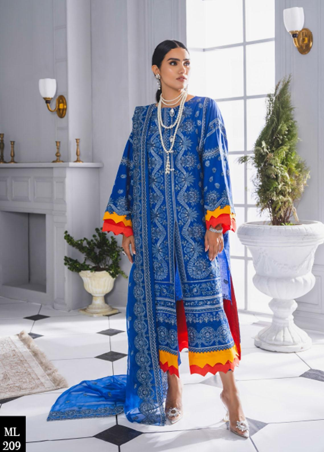 Maryum N Maria Embroidered Lawn Suits Unstitched 3 Piece MNM21F 209 Miday Love - Festive Collection