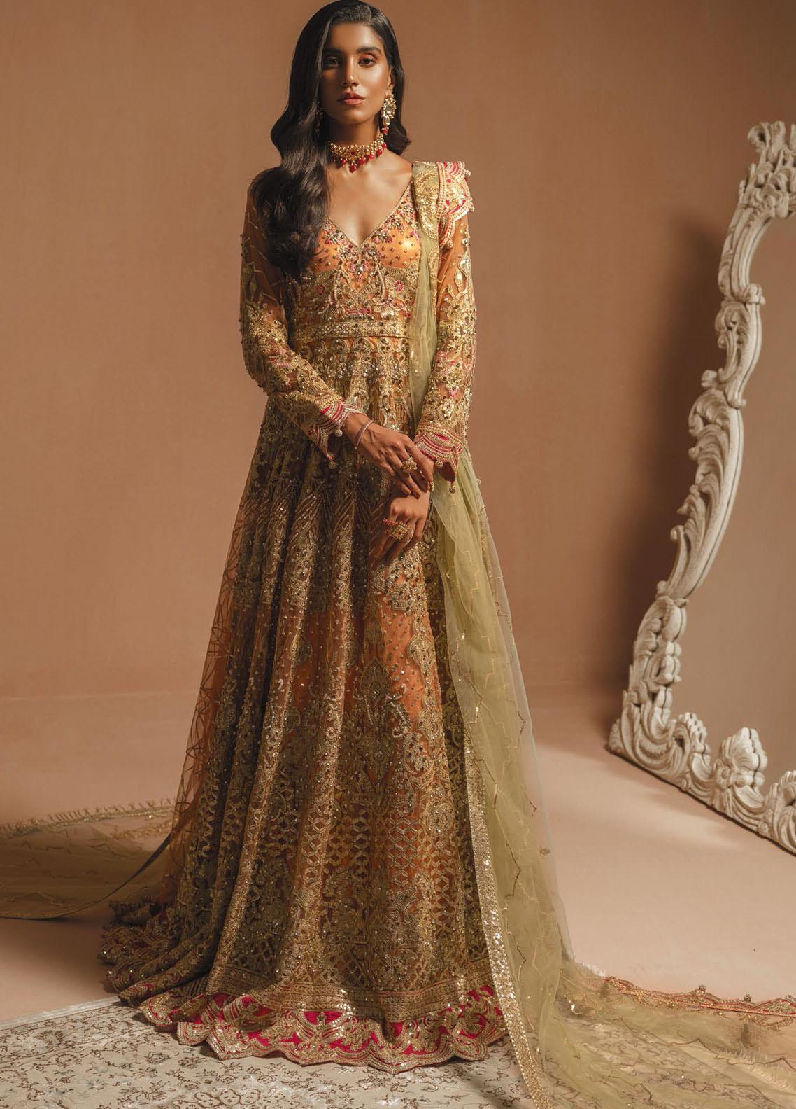Maryum N Maria Embroidered Net Unstitched 3 Piece Suit MNM20HB 05 Centaur - Bridal Collection