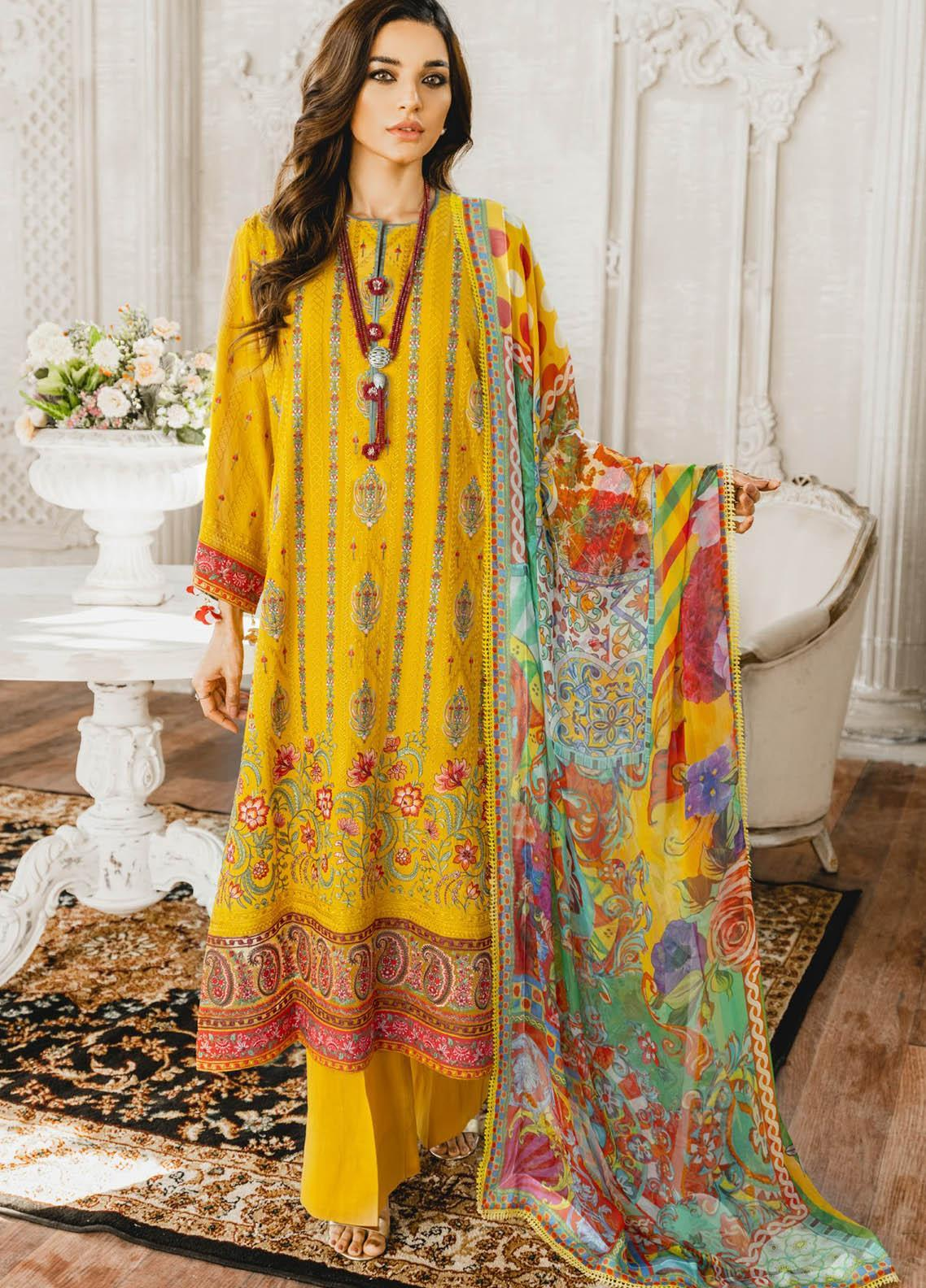 Maryum N Maria Embroidered Lawn Suits Unstitched 3 Piece MNM21L 01 Sun Flower - Luxury Collection