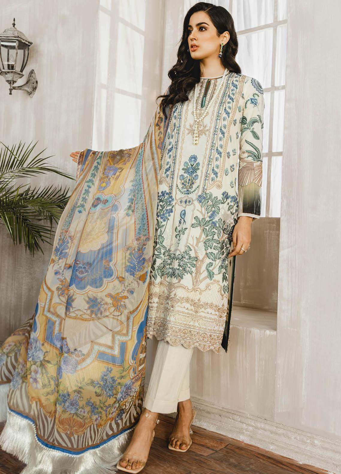 Maryum N Maria Embroidered Lawn Suits Unstitched 3 Piece MNM21L 04 All Love - Luxury Collection
