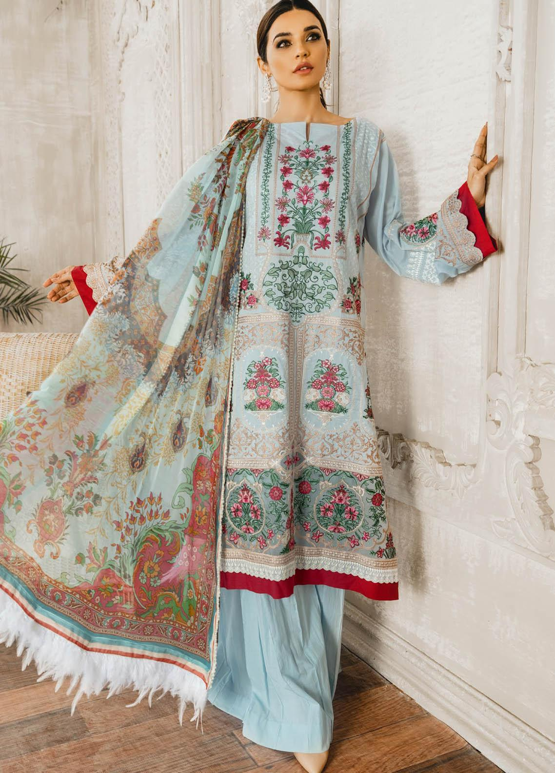 Maryum N Maria Embroidered Lawn Suits Unstitched 3 Piece MNM21L 05 Blue Light - Luxury Collection