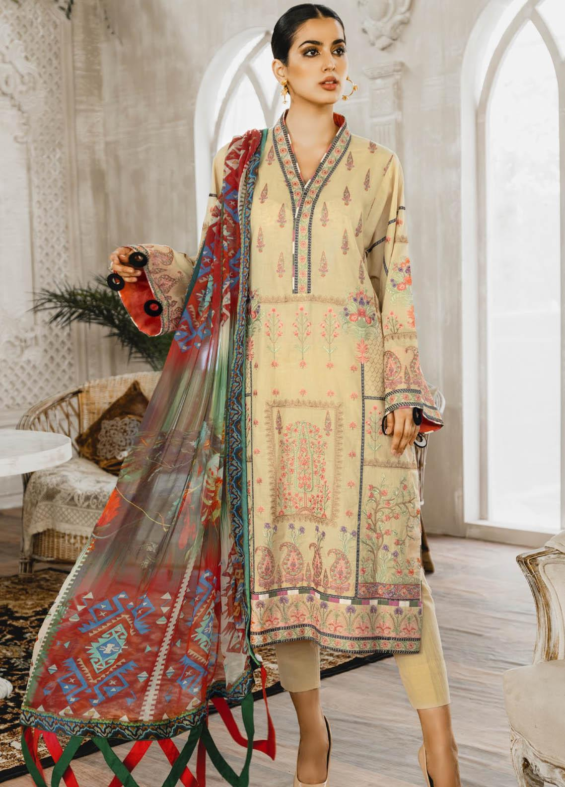Maryum N Maria Embroidered Lawn Suits Unstitched 3 Piece MNM21L 08 Regime Orrs - Luxury Collection