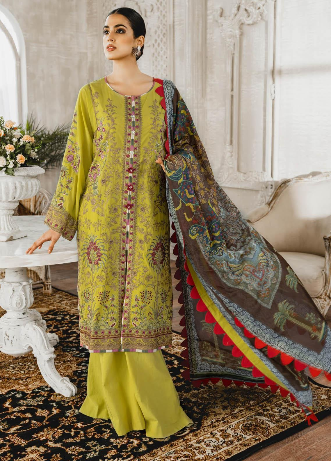 Maryum N Maria Embroidered Lawn Suits Unstitched 3 Piece MNM21L 09 Husterl Ugh - Luxury Collection