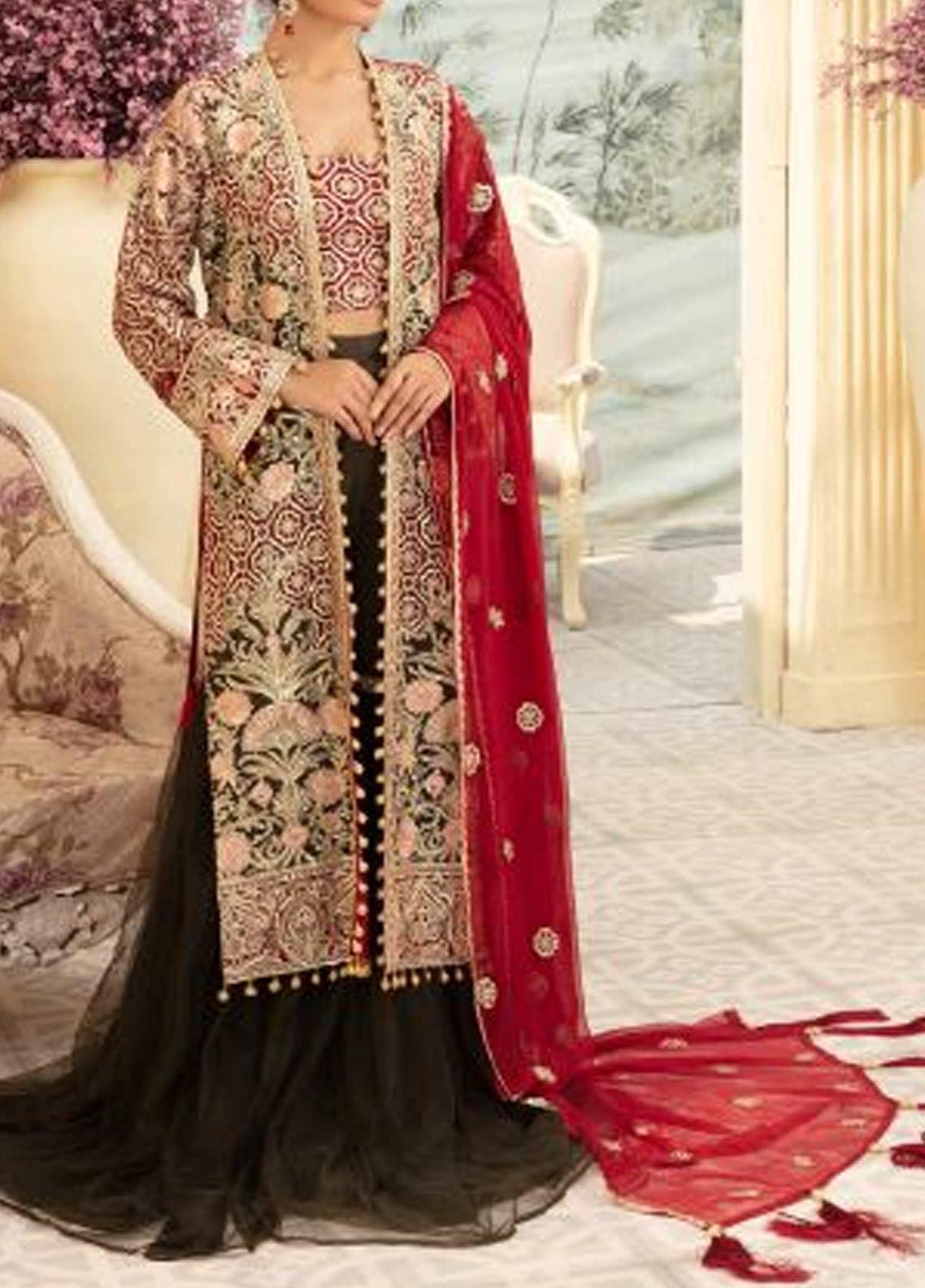Maryum N Maria Embroidered Chiffon Unstitched 3 Piece Suit MNM20C 03 MUSKICH DAAN - Premium Collection