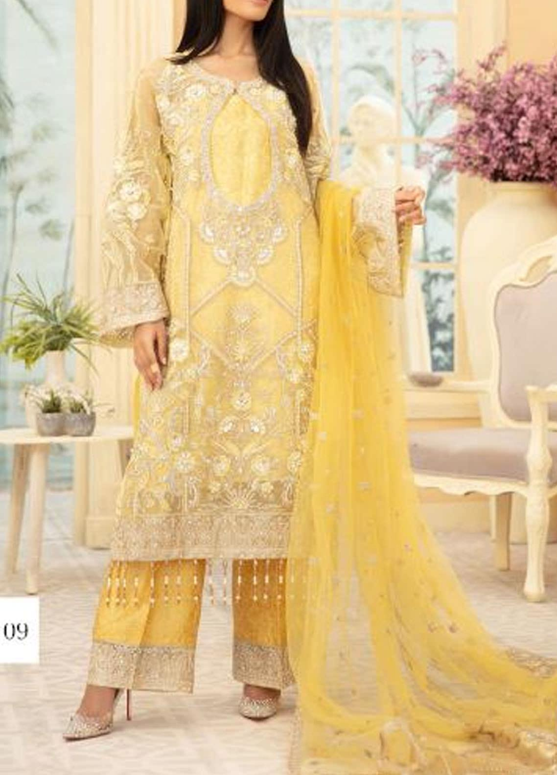 Maryum N Maria Embroidered Organza Unstitched 3 Piece Suit MNM20C 09 YELLOW LIGHT - Premium Collection
