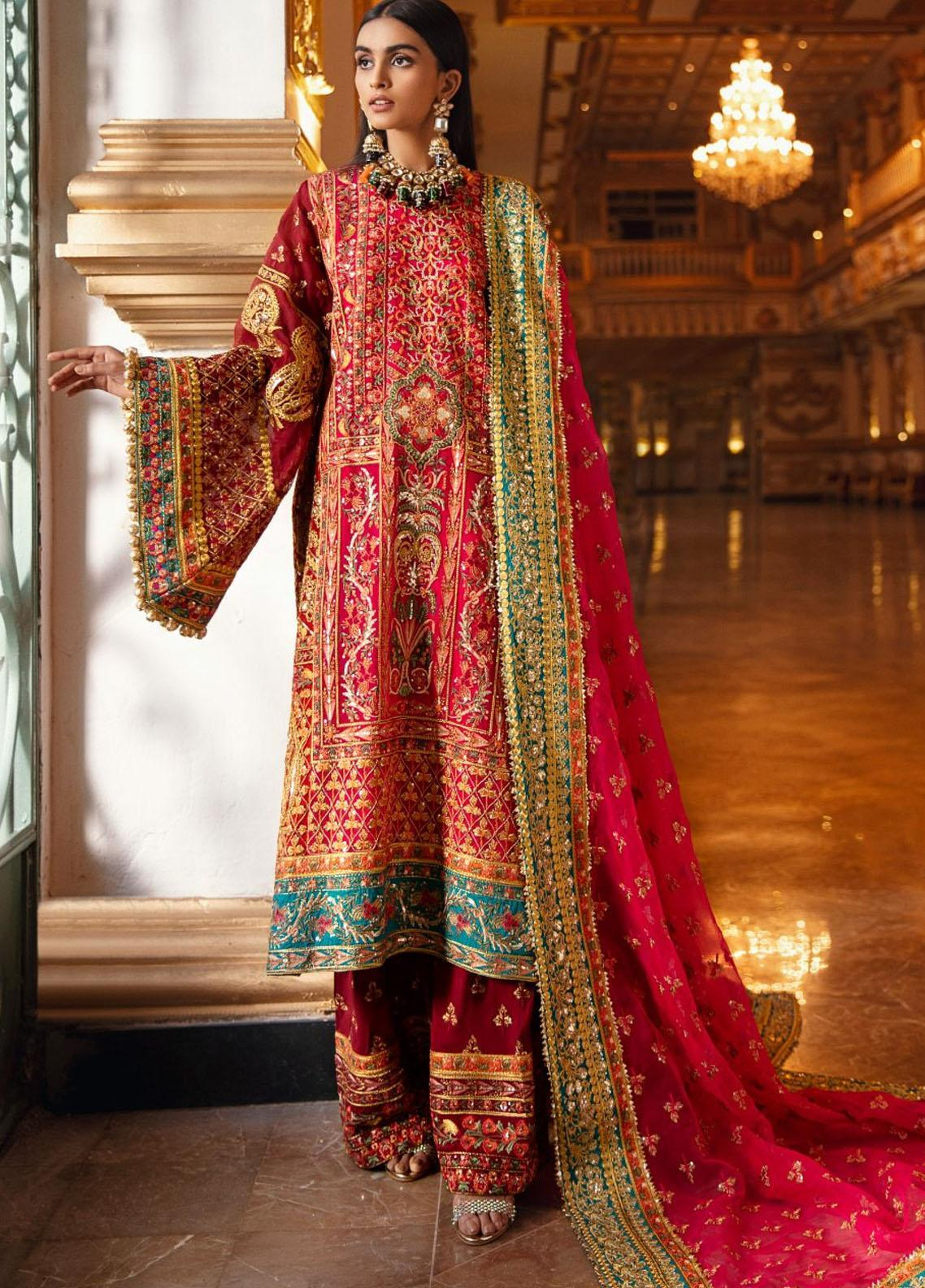 Maryum N Maria Embroidered Organza Unstitched 3 Piece Suit MNM20WD 02 Passion Amber - Wedding Collection