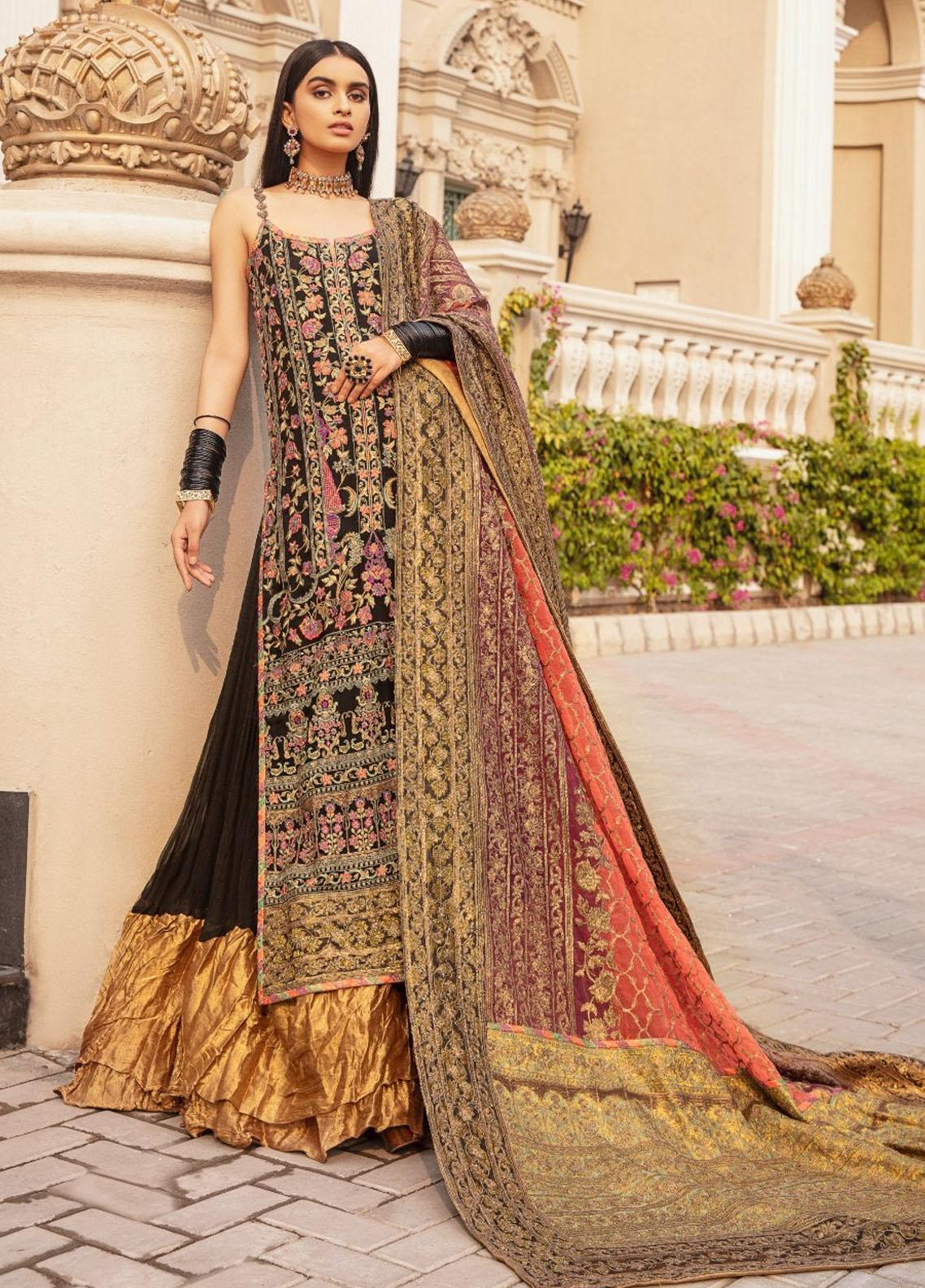 Maryum N Maria Embroidered Chiffon Unstitched 3 Piece Suit MNM20WD 05 Knit Rosette - Wedding Collection