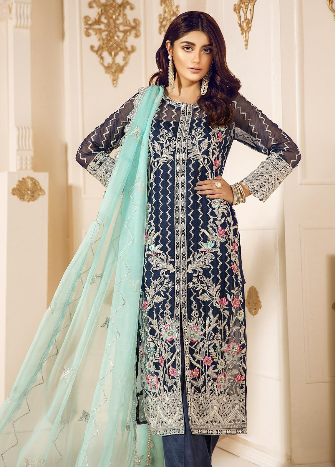 Mashq Embroidered Chiffon Unstitched 3 Piece Suit MAQ19C 1 MOONLIGHT - Premium Collection