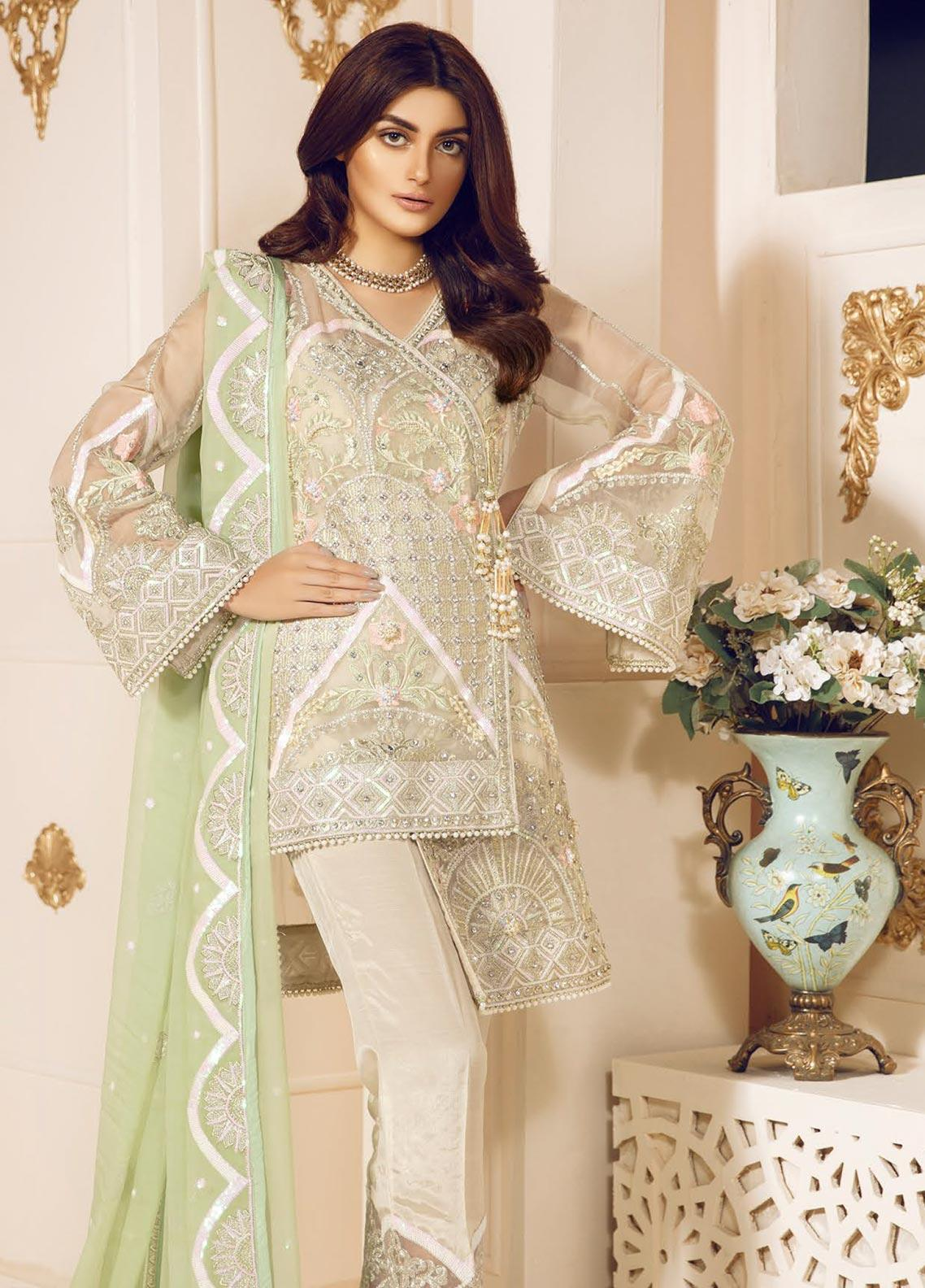 Mashq Embroidered Chiffon Unstitched 3 Piece Suit MAQ19C 3 SAMURD - Premium Collection