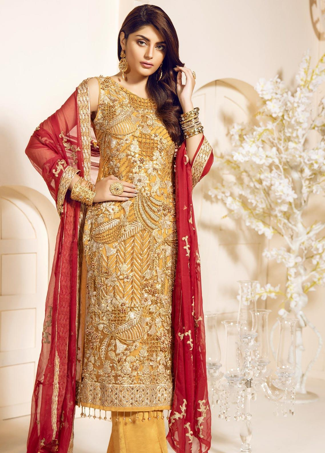 Mashq Embroidered Net Unstitched 3 Piece Suit MAQ19C 9 CRAO ROYAL - Premium Collection