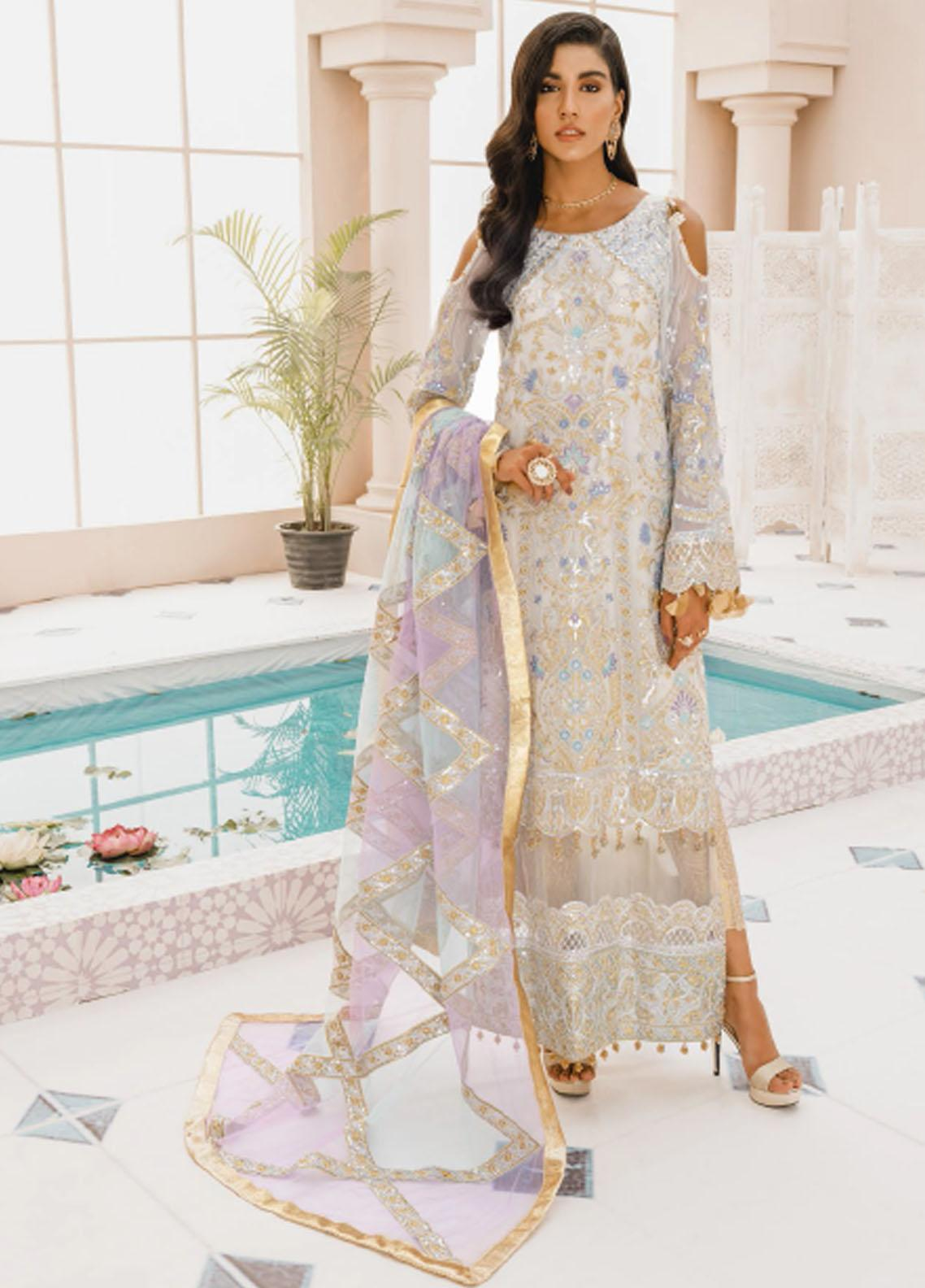 Mashq Embroidered Chiffon Unstitched 3 Piece Suit MAQ21P 01 LIME LIGHTS - Premium Collection