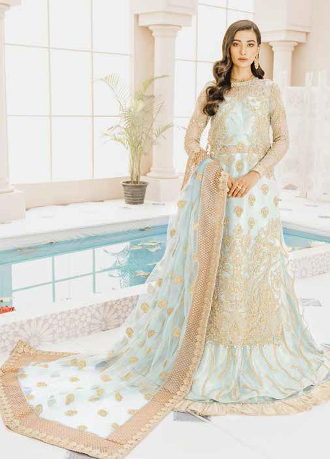Mashq Embroidered Net Unstitched 3 Piece Suit MAQ21P 02 BLUE AGE - Premium Collection