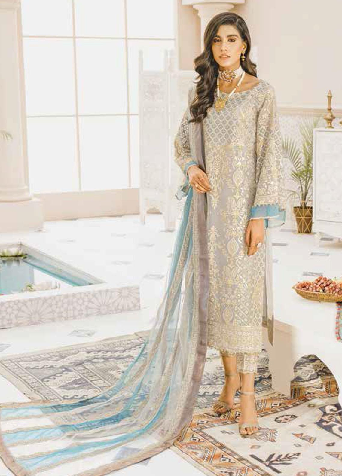 Mashq Embroidered Organza Unstitched 3 Piece Suit MAQ21P 03 MUZZELIF - Premium Collection