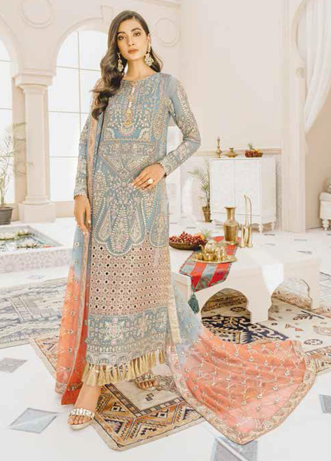 Mashq Embroidered Chiffon Unstitched 3 Piece Suit MAQ21P 04 ANGEL HOUR - Premium Collection