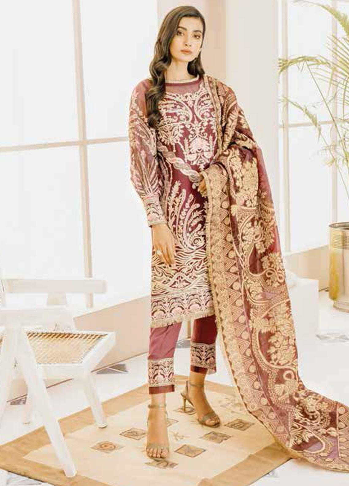 Mashq Embroidered Organza Unstitched 3 Piece Suit MAQ21P 06 MAROON DAY - Premium Collection