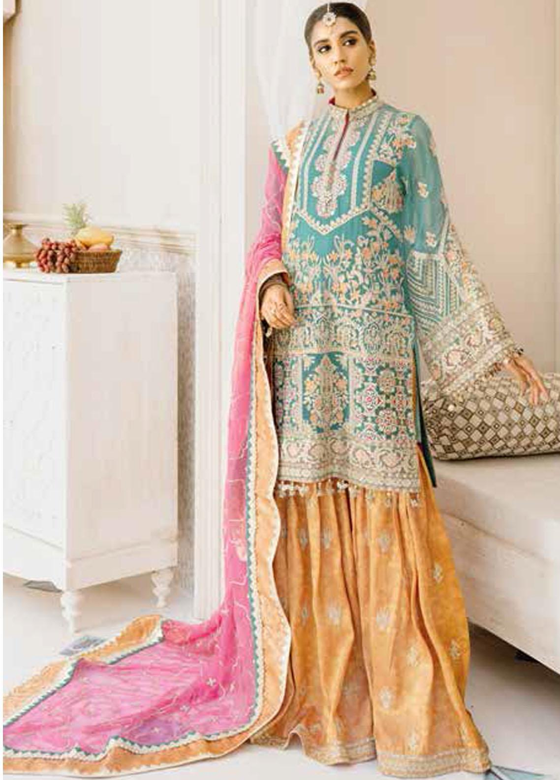 Mashq Embroidered Chiffon Unstitched 3 Piece Suit MAQ21P 08 COLORS & LOVE - Premium Collection