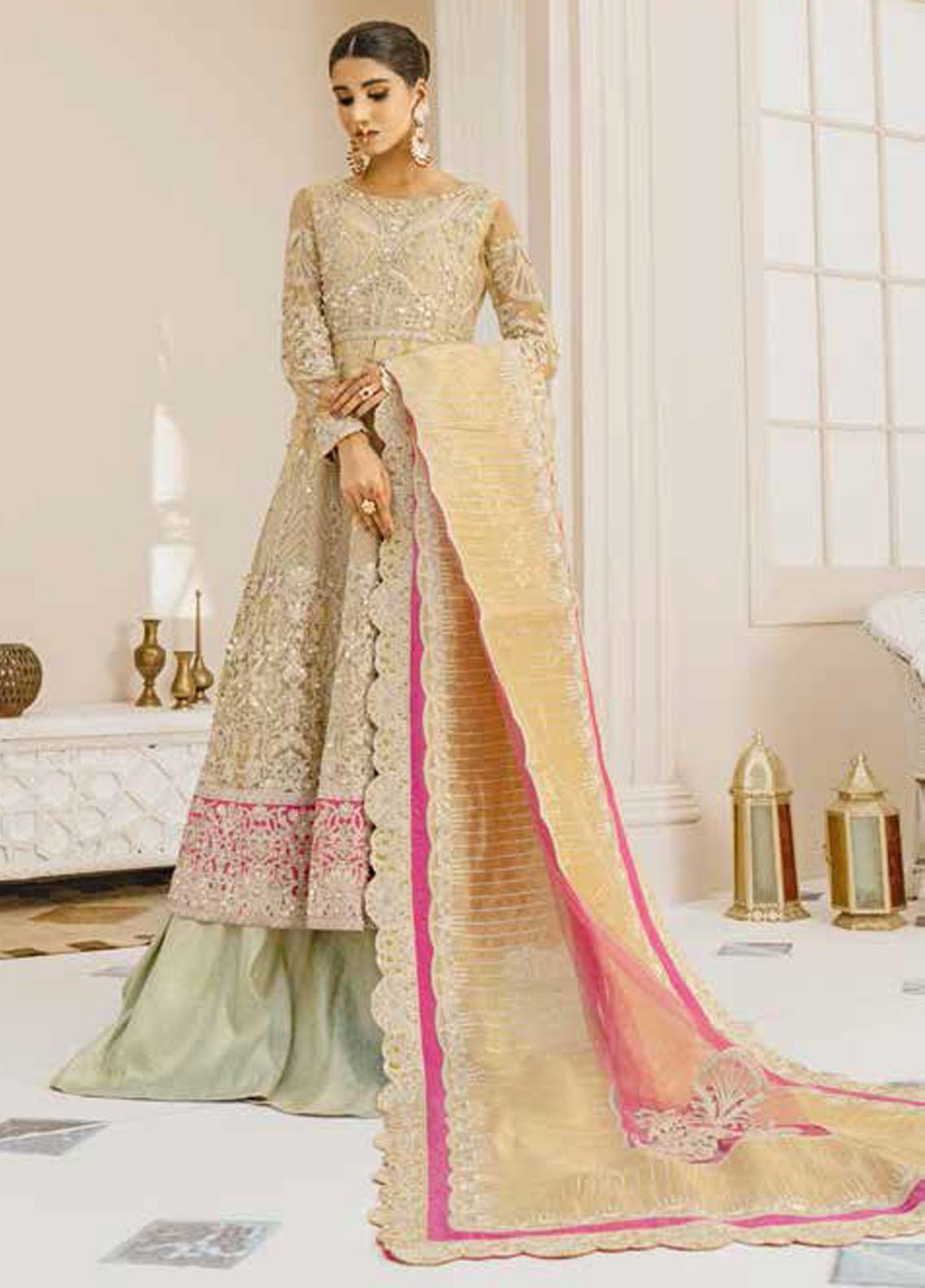Mashq Embroidered Net Unstitched 3 Piece Suit MAQ21P 09 MUSTLE & LOOK - Premium Collection