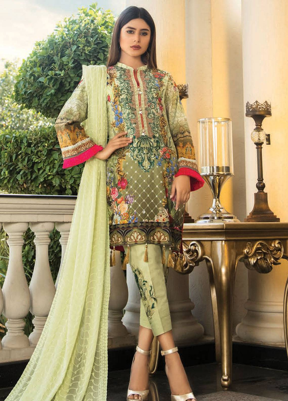 Maya by Noor Textile Embroidered Lawn Unstitched 3 Piece Suit MYN19L 01 - Spring / Summer Collection