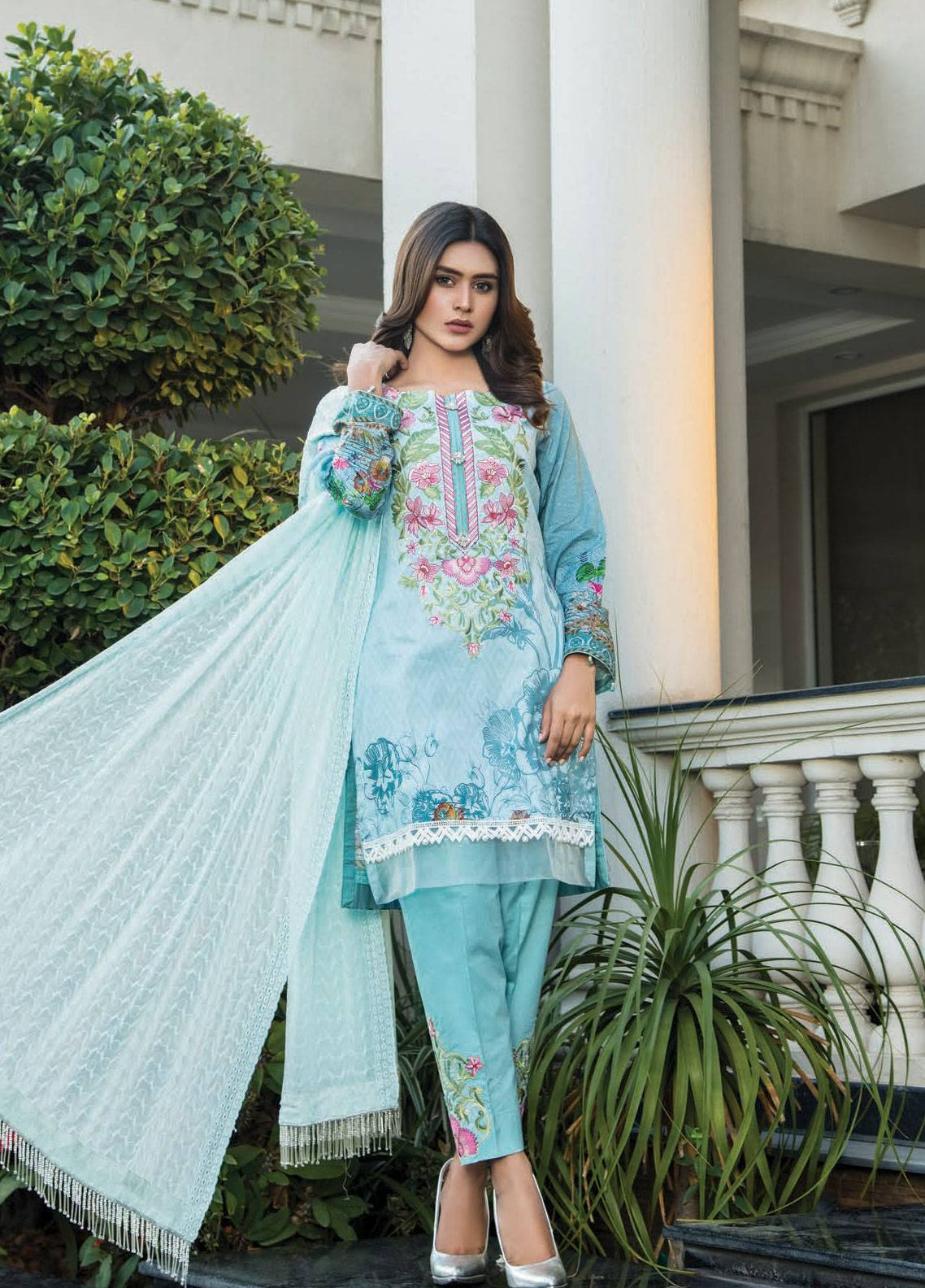 Maya by Noor Textile Embroidered Lawn Unstitched 3 Piece Suit MYN19L 05 - Spring / Summer Collection