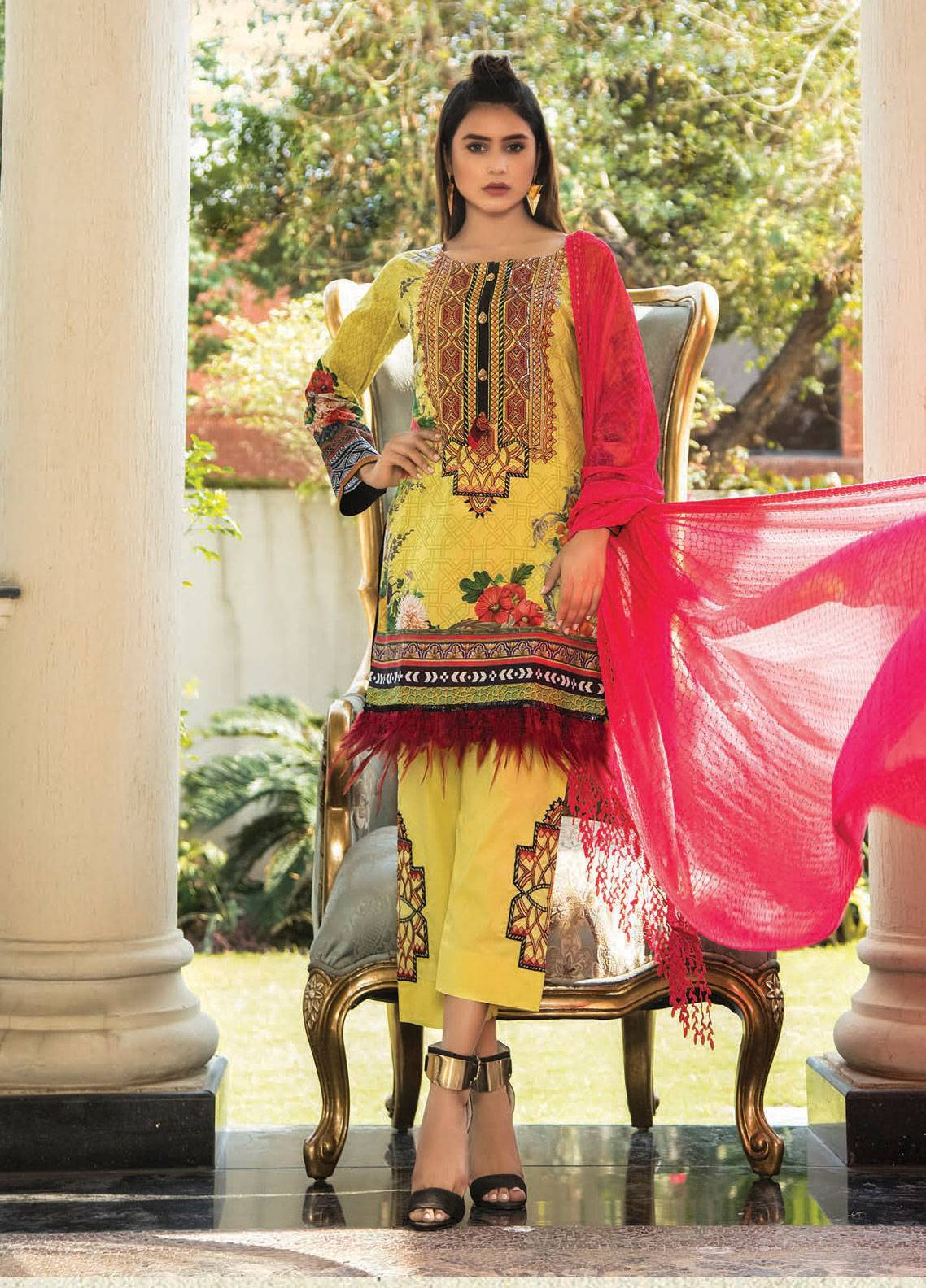 Maya by Noor Textile Embroidered Lawn Unstitched 3 Piece Suit MYN19L 06 - Spring / Summer Collection