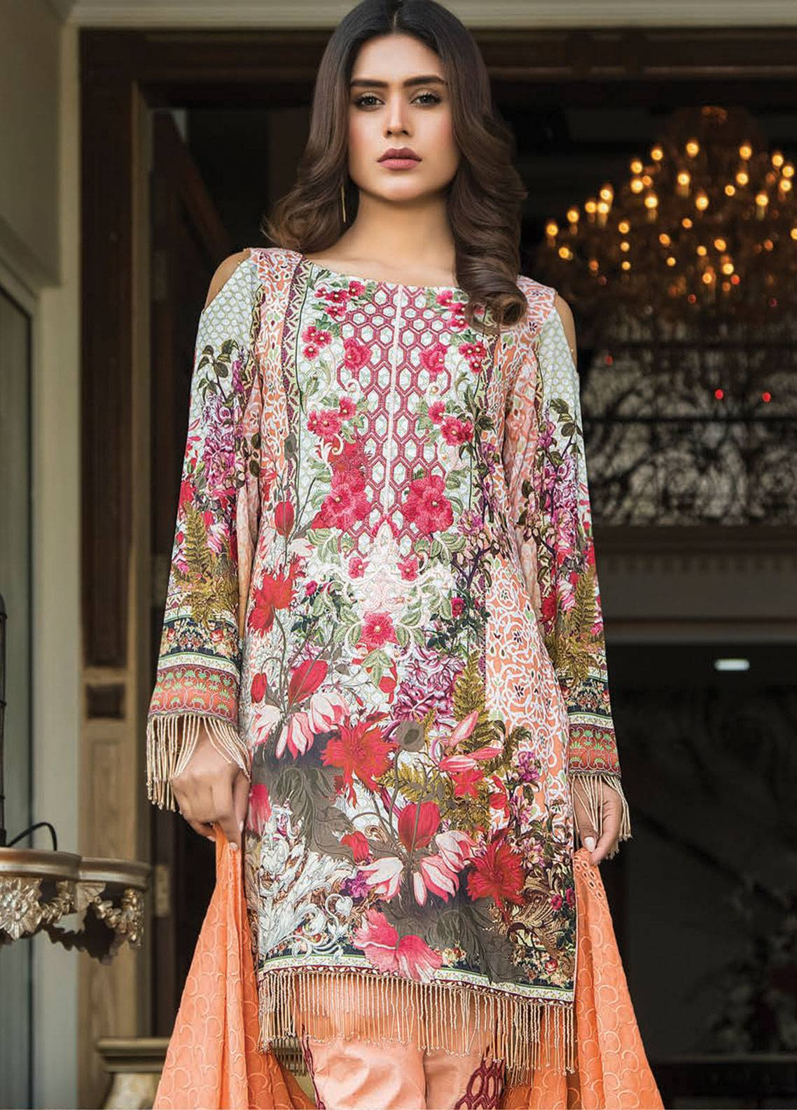 Maya by Noor Textile Embroidered Lawn Unstitched 3 Piece Suit MYN19L 08 - Spring / Summer Collection