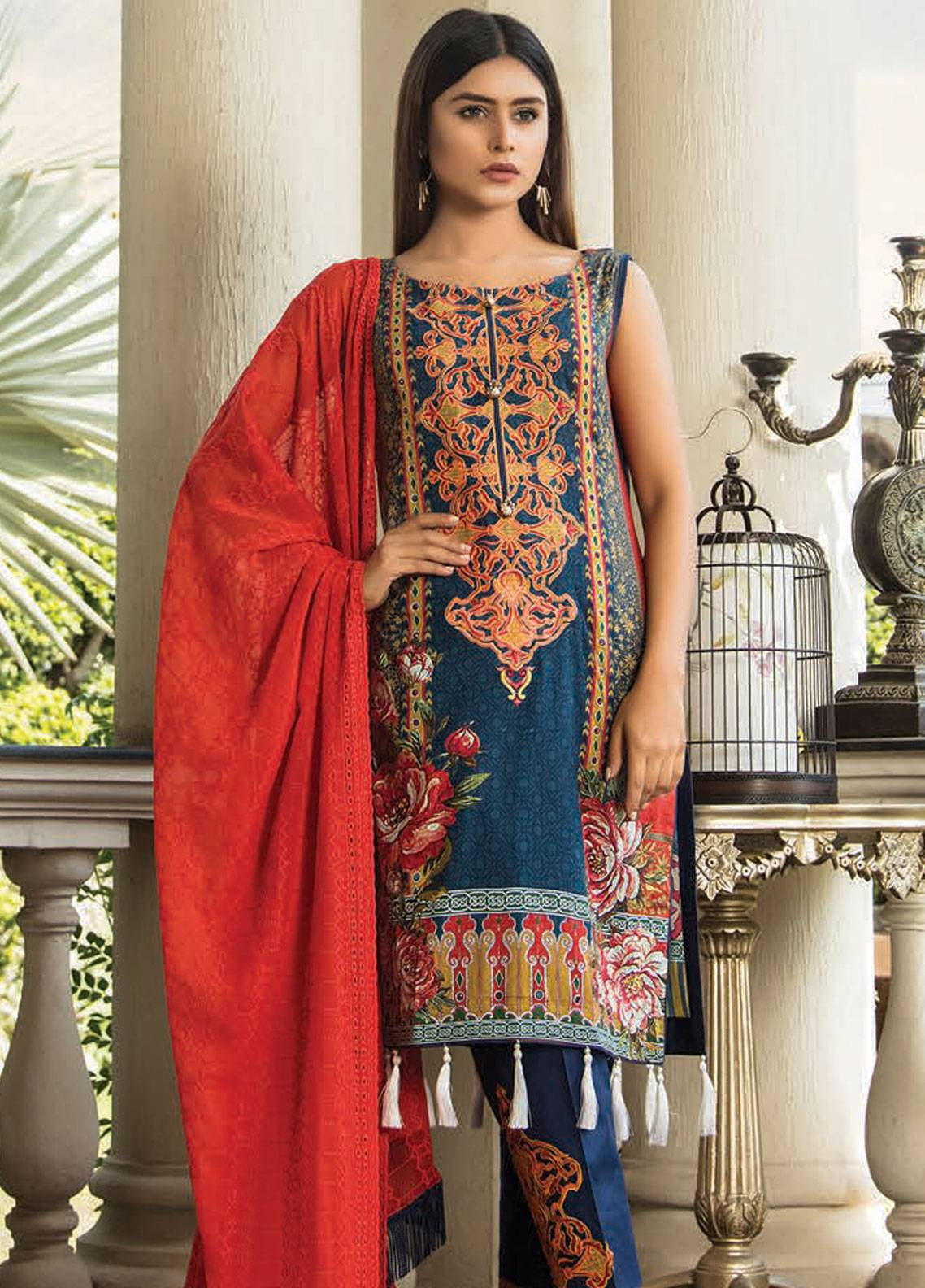 Maya by Noor Textile Embroidered Lawn Unstitched 3 Piece Suit MYN19L 10 - Spring / Summer Collection