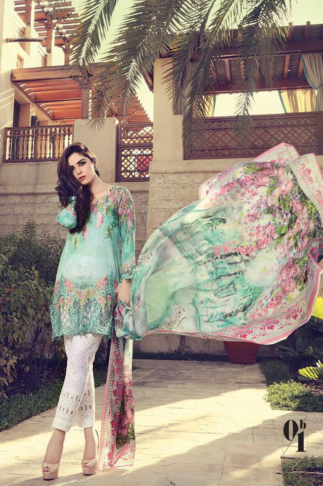 Maria B Embroidered Lawn Unstitched 3 Piece Suit MB17L 1B