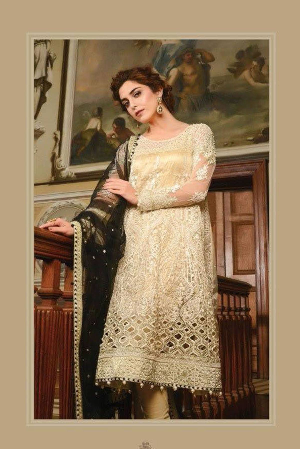 Maria B Embroidered Chiffon Unstitched 3 Piece Suit MB17W2 01