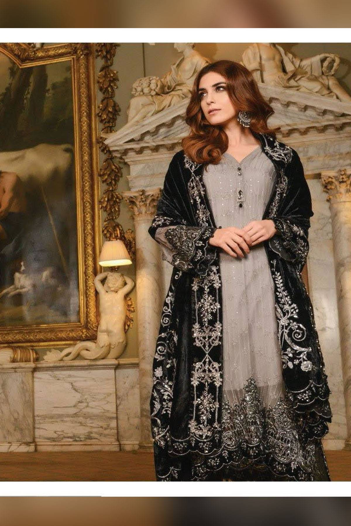 Maria B Embroidered Chiffon Unstitched 3 Piece Suit MB17W2 03