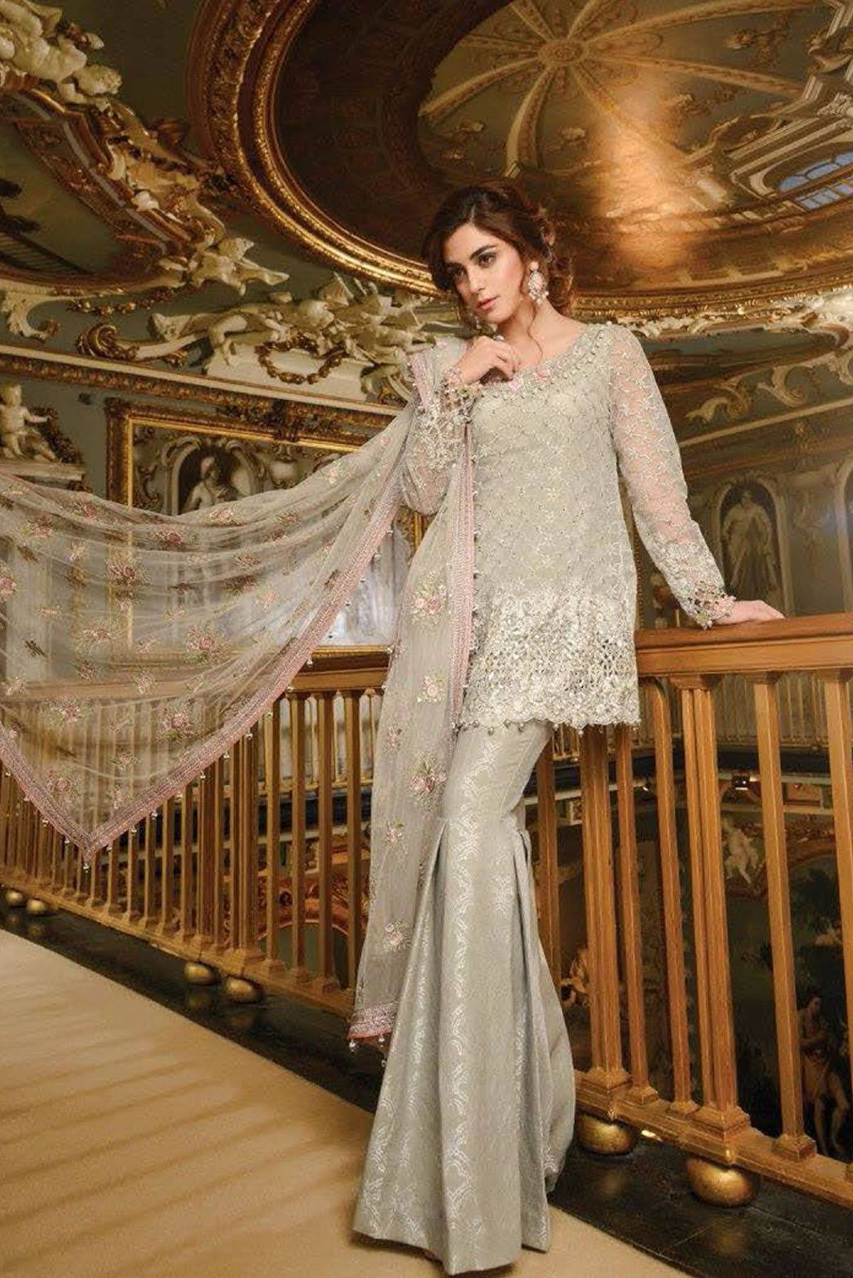 Maria B Embroidered Chiffon Unstitched 3 Piece Suit MB17W2 06