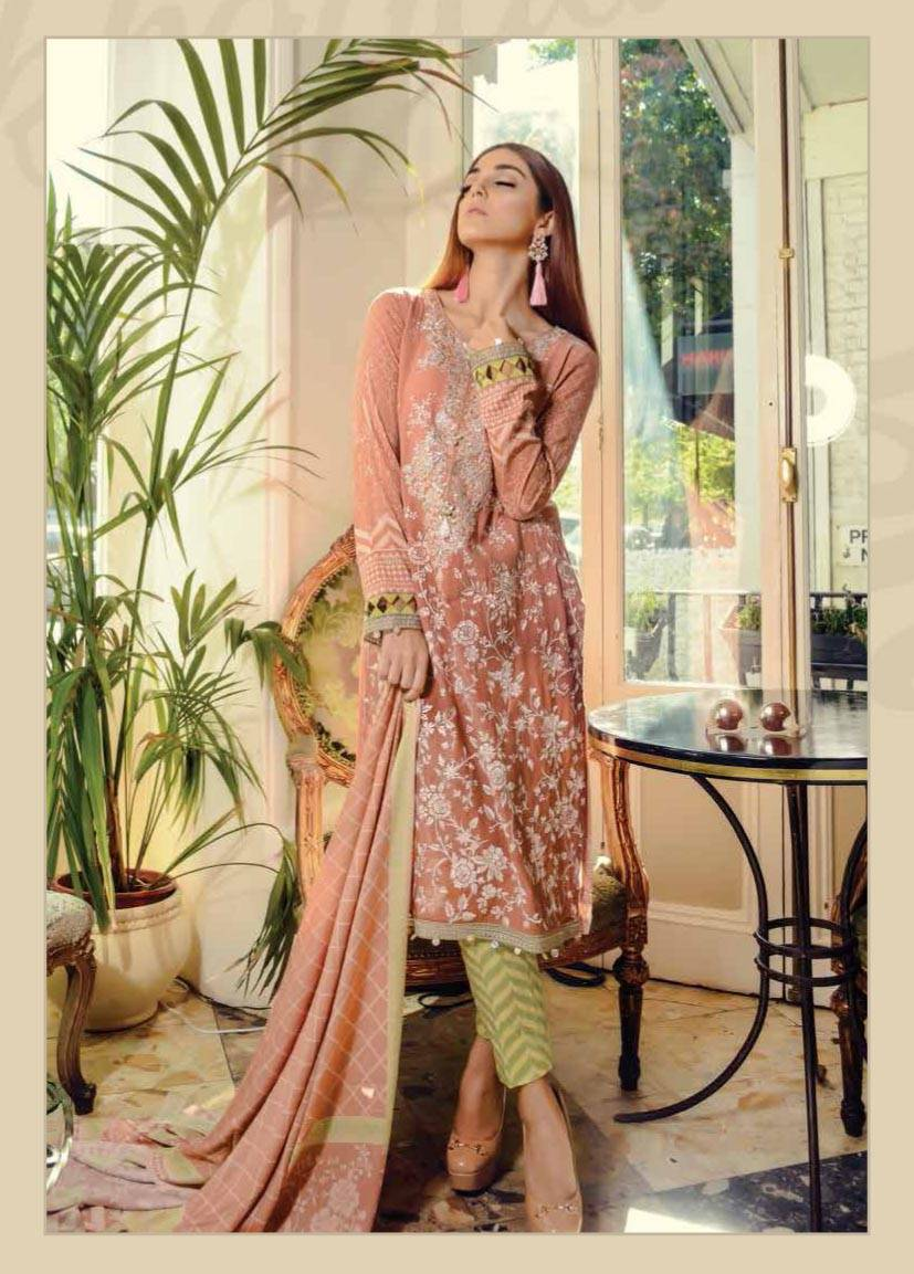 Maria B Embroidered Marina Unstitched 3 Piece Suit MB17W 02
