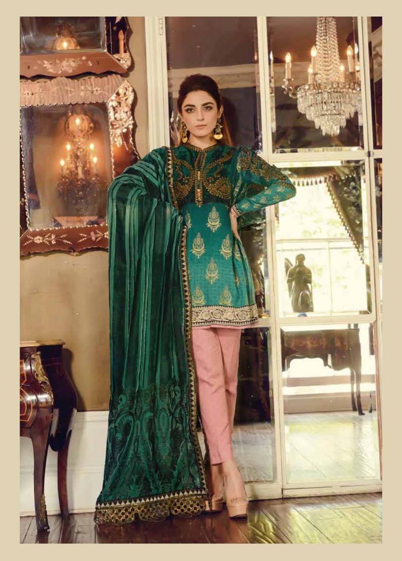 Maria B Embroidered Linen Unstitched 3 Piece Suit MB17W 05