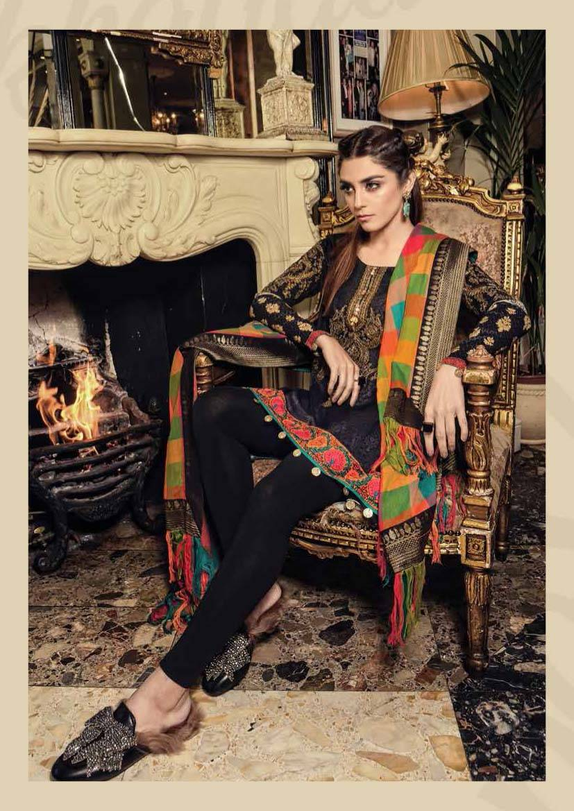 Maria B Embroidered Linen Unstitched 3 Piece Suit MB17W 07