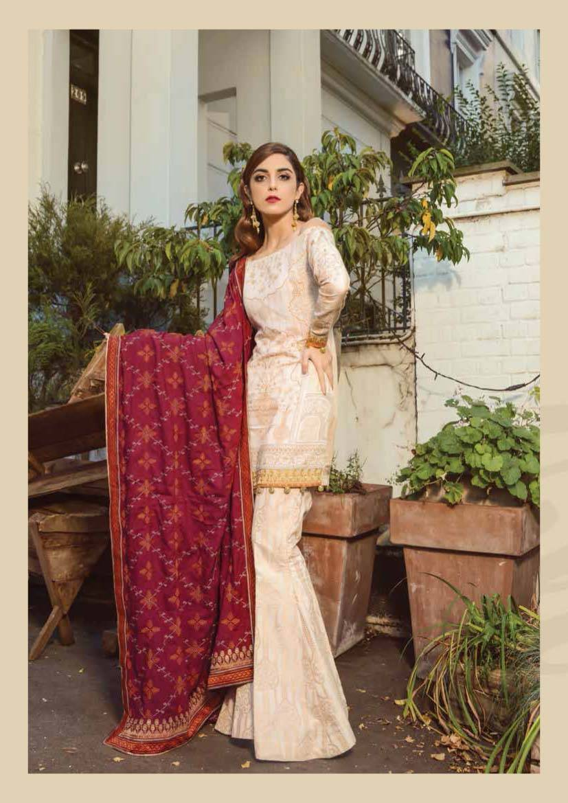 Maria B Embroidered Linen Unstitched 3 Piece Suit MB17W 08