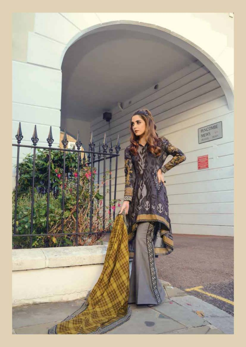 Maria B Embroidered Linen Unstitched 3 Piece Suit MB17W 10
