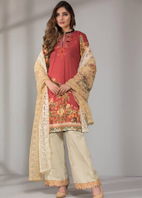 Mahrukh By ZS Embroidered Cotton Unstitched 3 Piece Suit ME18D 01