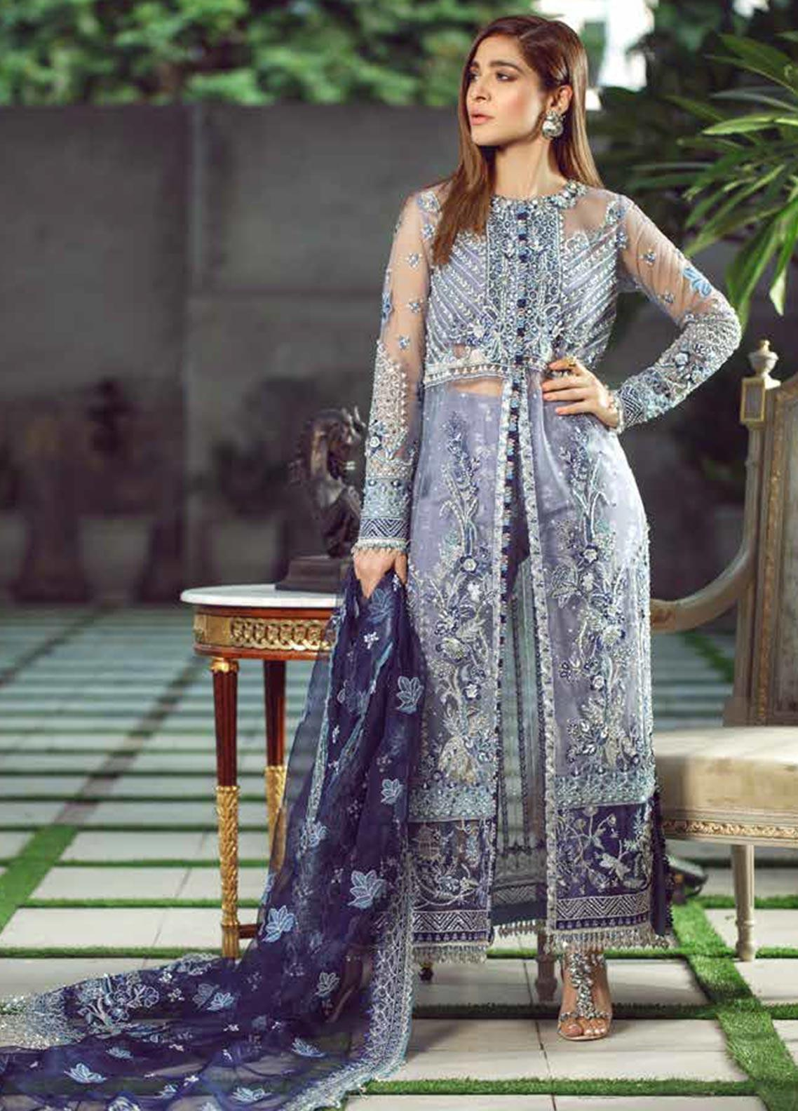Meer by Maryam Hussain Embroidered Net Unstitched 3 Piece Suit MRH19W FALAK - Wedding Collection