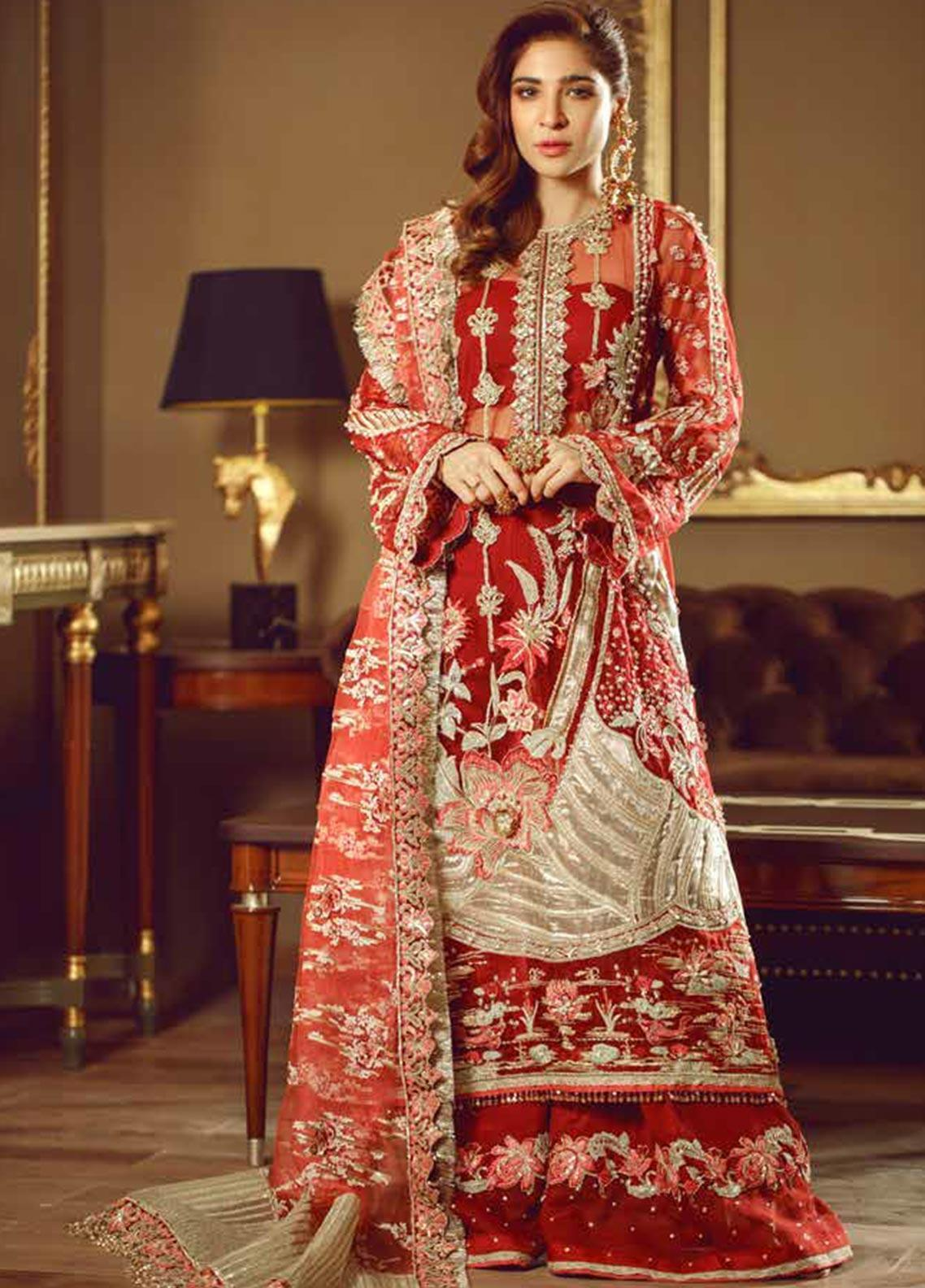 Meer by Maryam Hussain Embroidered Net Unstitched 3 Piece Suit MRH19W GULAAB - Wedding Collection