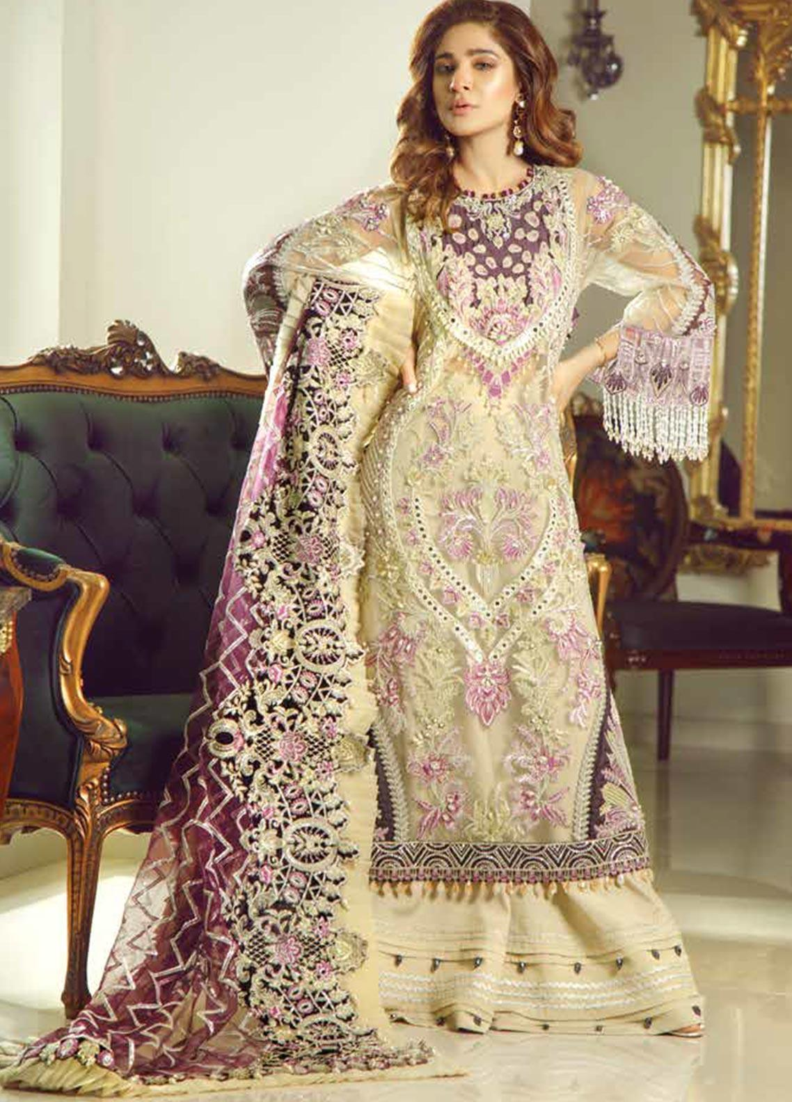Meer by Maryam Hussain Embroidered Net Unstitched 3 Piece Suit MRH19W INAYAT - Wedding Collection