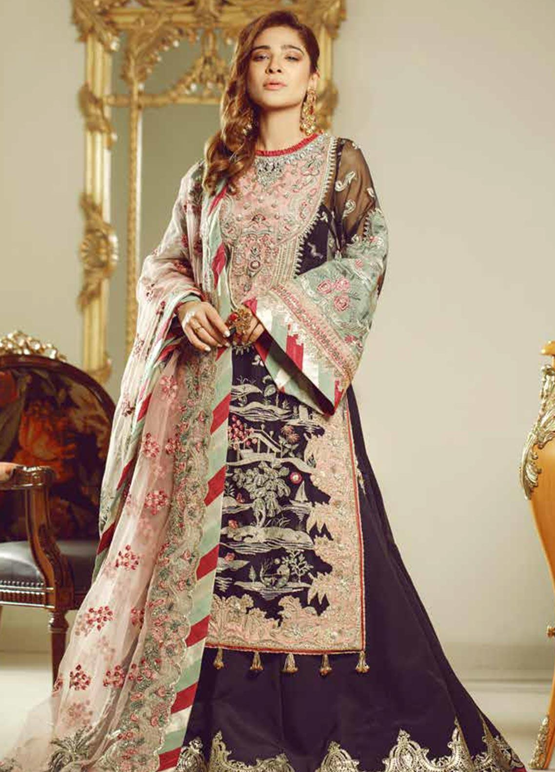 Meer by Maryam Hussain Embroidered Organza Unstitched 3 Piece Suit MRH19W NOOR - Wedding Collection