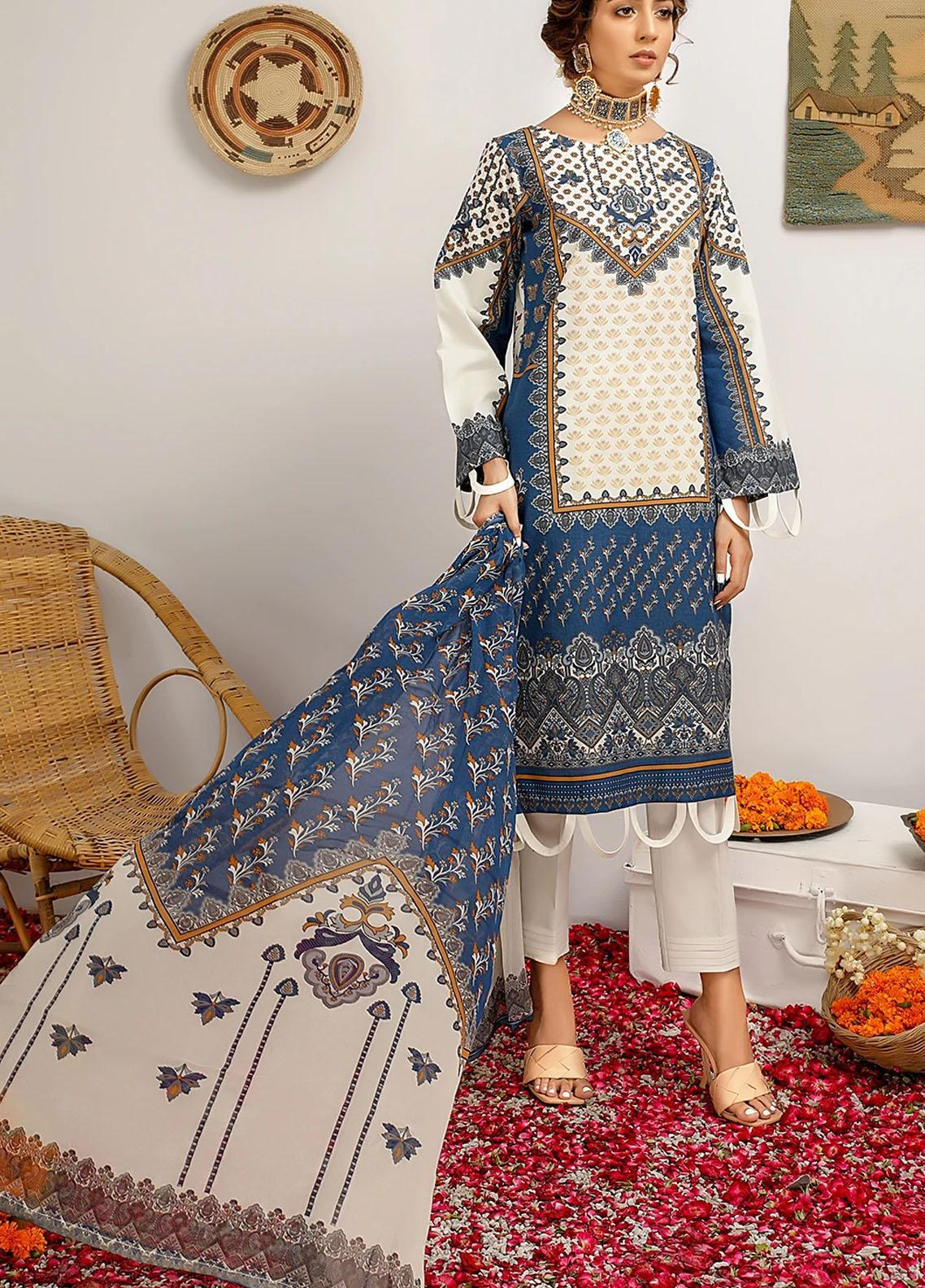 Meeral Printed Lawn Suits Unstitched 3 Piece MRL21-L2 03 Blue Lagoon - Summer Collection