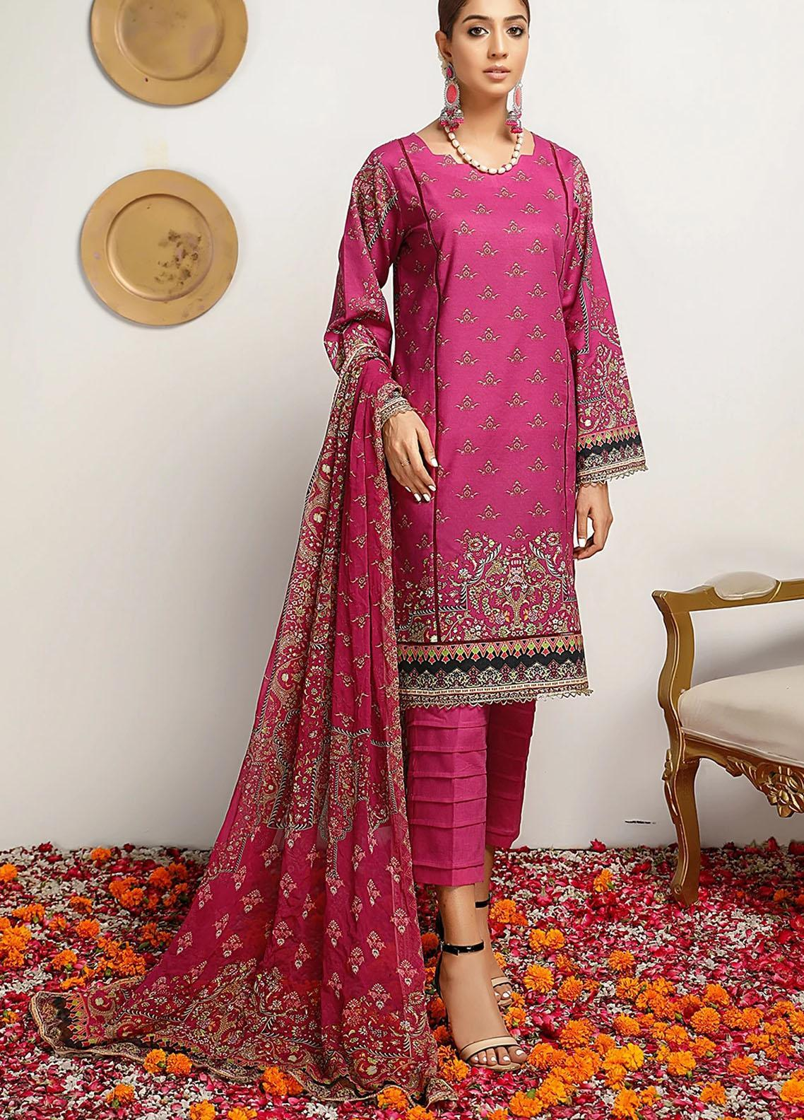 Meeral Printed Lawn Suits Unstitched 3 Piece MRL21-L2 04 Azalea - Summer Collection